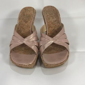 Stuart Weitzman cork wedge platform sandals sz 9